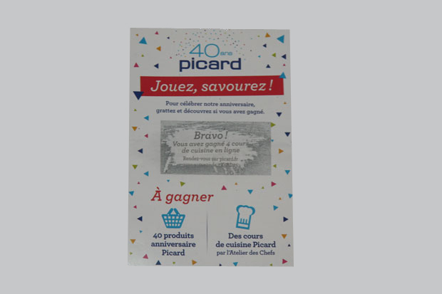 Ticket encre à gratter Picard