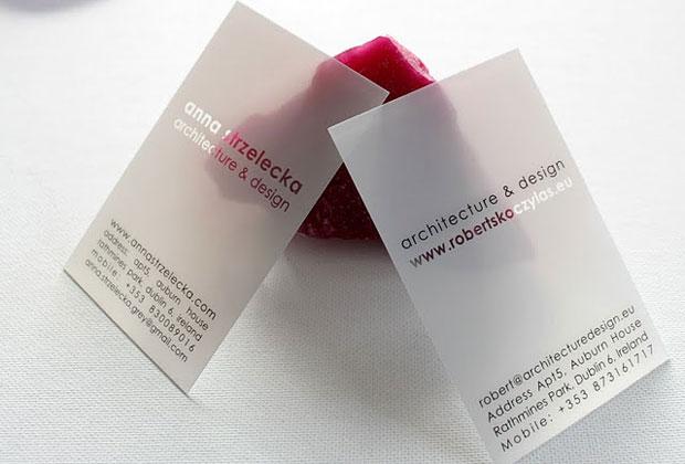 Carte plastique transparente ou translucide pour une carte de visite