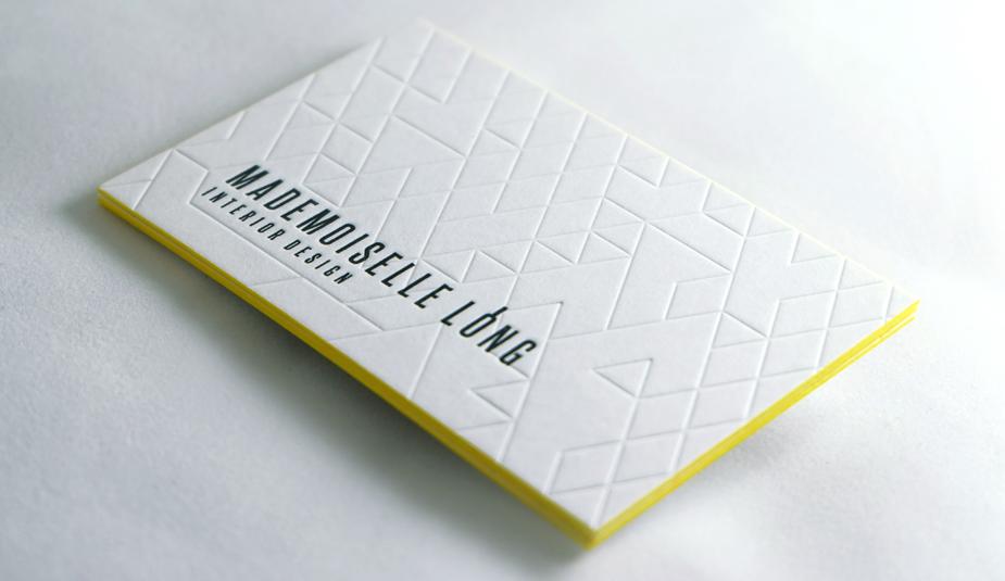 letterpress tranche jaune debossage sec